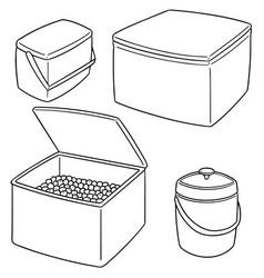 Set of ice box and ice bucket vector