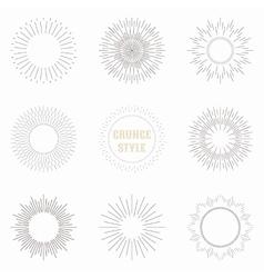 set of vintage sunburst geometric shapes vector image