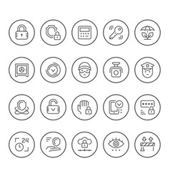 set round line icons of security vector image