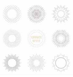 set vintage sunburst geometric shapes and vector image