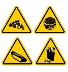 Set Warning sign fast food Dangerous foods vector image