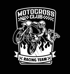 shirt design racer or motorcross sport vector image