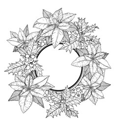 sketch christmas round frame wreath vector image