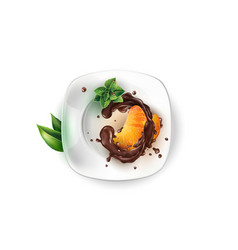 Slices tangerine in chocolate on a white plate vector