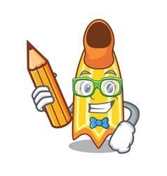 Student swim fin character cartoon vector