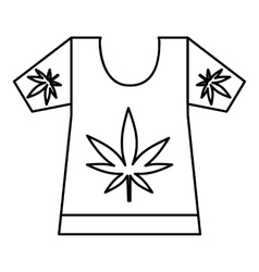 T-shirt with print of cannabis icon outline style vector