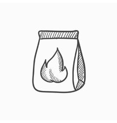 Take-away meals package sketch icon vector