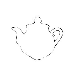 tea maker sign black dotted icon on white vector image