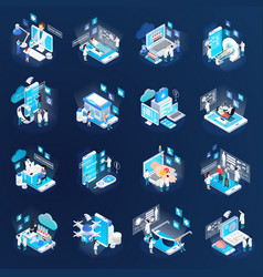 telemedicine isometric icons set vector image