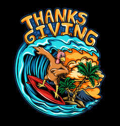 thanksgiving holiday turkey riding a surf board vector image