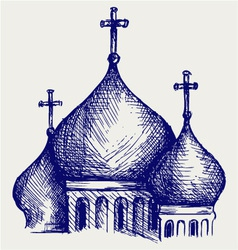 The bulbous domes of orthodox cathedral temple vector