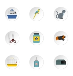 Veterinary things icons set flat style vector
