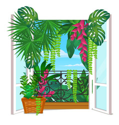 vintage wooden window with potted flowers on the vector image