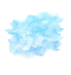 Watercolor blue paint texture isolated on white vector