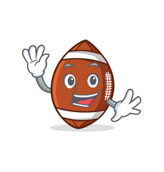 waving american football character cartoon vector image