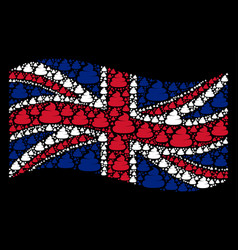 Waving great britain flag pattern of crap icons vector