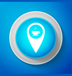 white map pointer with hot coffee cup icon vector image