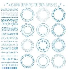 winter snow doodle wreath vector image