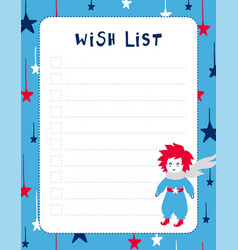 Wish list template the little prince theme vector