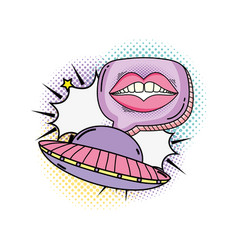 Woman mouth with speech bubble and ufo vector