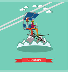 Chairlift in flat style vector