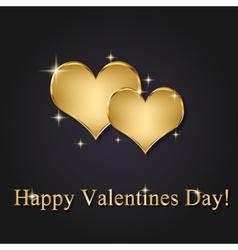 Elegant Golden Valentine Hearts vector image vector image