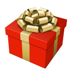 gift box with gold bow vector image vector image
