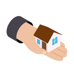 House in hand 3d isometric icon vector image vector image