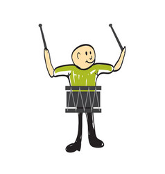 Man with a musical instrument drum vector