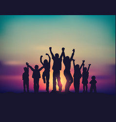 many children happy family group and sunrise sky vector image