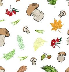 Mushroom hand drawn sketch Seamless Pattern vector image