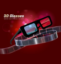 3d glasses movie cinema object vector image vector image