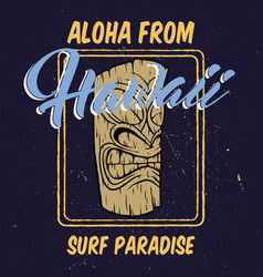aloha hawaii with tiki head vector image