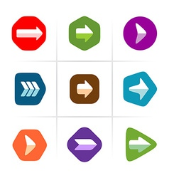 Arrow icons set Flat color with rounded corner vector image
