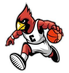 cardinal as a basketball mascot vector image vector image