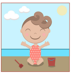 cartoon baby happy on beach vector image