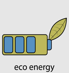 Eco energy battery with leaf vector image vector image