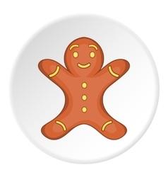 Gingerbread man icon cartoon style vector image