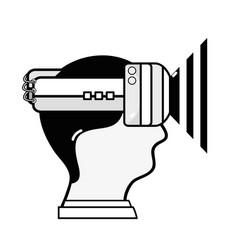 head boy with 3d eyeglasses virtual experience vector image vector image