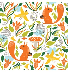 seamless pattern with a squirrels vector image