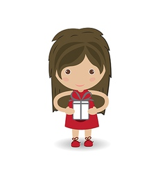 beautiful girl embraces the gift vector image