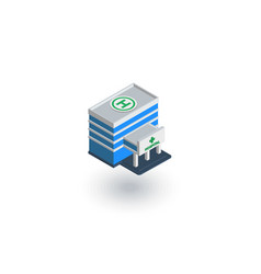hospital building isometric flat icon 3d vector image vector image