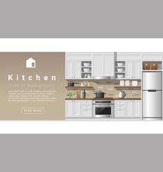 Interior design Modern kitchen background 2 vector image