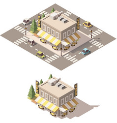 isometric low poly cafe vector image vector image
