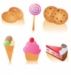 pastry icons vector image vector image