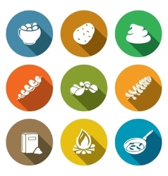 Potato products Icons Set vector image vector image