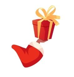 Santas african american hand holding gift box vector image