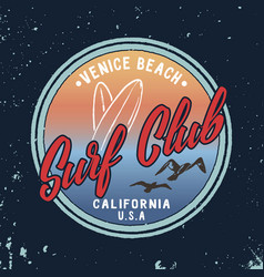 summer surf club retro badge vector image vector image