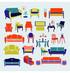 Collection of icons set Interior design vector image vector image