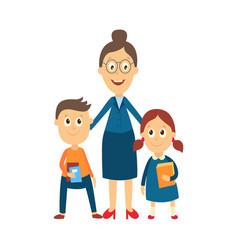 flat cartoon teacher and pupils vector image vector image